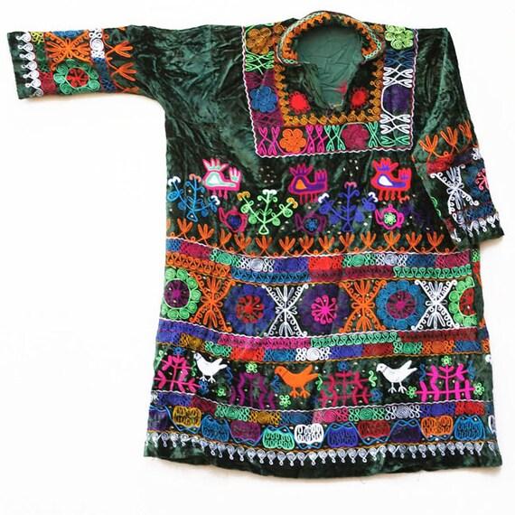 Vintage Uzbek Tunic, Green Embroidered Velvet, L