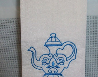 Teapot Dish Towel, Muslin, Home and LIving, Kitchen and Dining, LInens, Kitchen Towel, Teapots, Embroidered, Dishcloths & Kitchen Towels