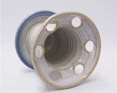 Toothbrush Holder in Soft White and Blue Pottery (holds 6 toothbrushes)