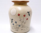 Hummingbird and Flowers Pottery Vase Limited Series 71 (8 1/4 inch height)