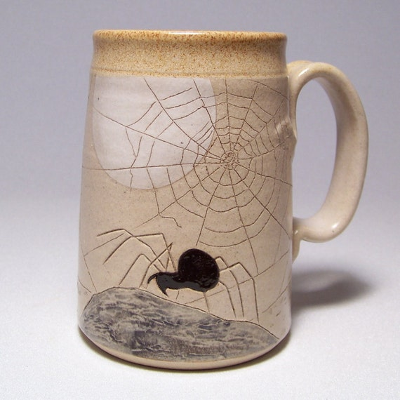 Spider and Web by moonlight Pottery Coffee Mega Mug Limited Series 177 (microwave safe) 24 ounce
