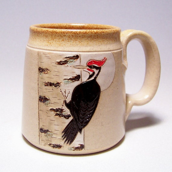 Pileated Woodpecker and Birch Pottery Mug  Limited Series 167 (microwave safe) 12oz