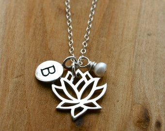 Lotus flower necklace with initial charm and pearl accent - sterling silver personalized jewelry