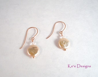rose gold morganite coin pearl drop earrings - made to order