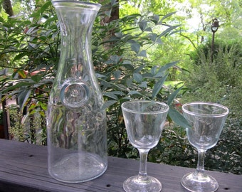 Vintage Wine Carafe - Full Litre Clear Glass