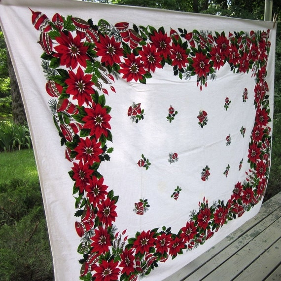 Vintage Christmas Tablecloth - Red Poinsettias