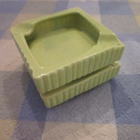 Mid Century Modern - Two  Lime Pottery Ashtrays