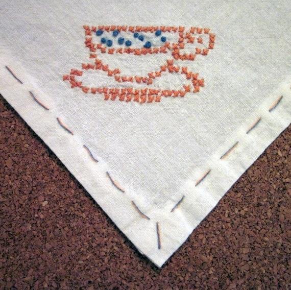 Vintage Tablecloth - Small Handmade - Tea Party