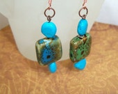 Earrings, Southwest Earrings ,  Drop Earrings, Turquoise,  in Blue and Green. Natural Stones,  Gift for Any One, Teen to Grandmother
