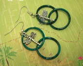 Earrings,  Silver Dragon Flies Captured in Green Rings,  Earrings Make Great Gifts For Any Age Woman or Teen Girl, These are Adorable