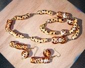 Necklace and Earrings Set, Leopard  Design. One Of A Kind, Glass Necklace and Earring Set, Wear Anywhere, Anytime Gift Set, Teen Or Granny