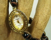 Watch, Wrist Watch, Black and Gold Glass Beaded Band, Strung on Stretchy Cord, The Perfect  Gift For Any Woman,  Will Fit Average Wrist