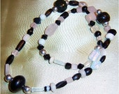 Necklace, Spectator Sport Necklace, Black and White Glass Beads and Natural Elements of Onyx, Marble and  Special Glass, Beautiful Gift