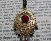 India Rain, filigree, brass, swarovski, crystal, boho, pendant, necklace