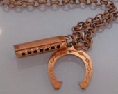 The hoedown, copper, horseshoe and harmonica cowgirl, music, necklace SALE 20% off