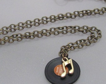 Play for today. A miniature, music notes, vinyl, 45, record necklace.