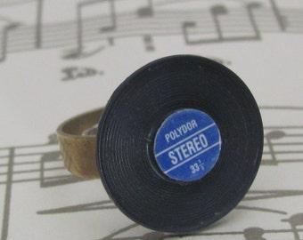 Hit single record, miniature vinyl, 45, album ring