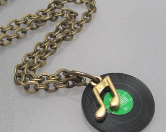 Dusty 45s vinyl record necklace.