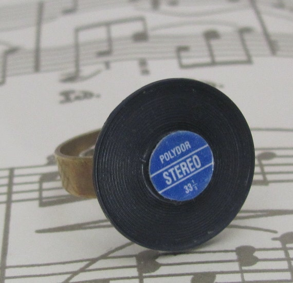 Hit single record, miniature vinyl, 45, album ring