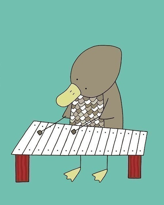 Baby Nursery Art, Kids Wall Art, Duck Nursery Art, Nursery Art Print (Duck Playing the Xylophone), Turquoise Nursery Art, Teal Nursery