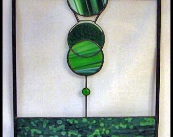 Stained Glass Art Panel in Greens