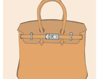 Custom Handbag Illustration Fashion Illustration Art Print size Large
