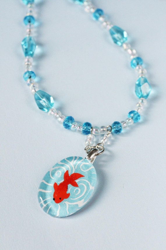 Beaded Chiyogami Necklace Set - Little Fish