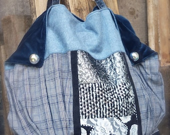 Large Tote Bag, Tweed fabric, Leather, patchwork , blue velvet flaps, Handmade, One of a Kind, winter style, bohemian look, original style
