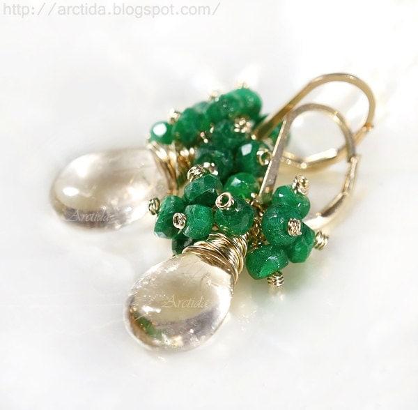 Emerald jewelry golden rutilated quartz earrings emerald for Golden rutilated quartz jewelry