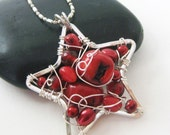 SALE - Red Star Wire Wrapped Pendant Necklace - Beaded Cluster