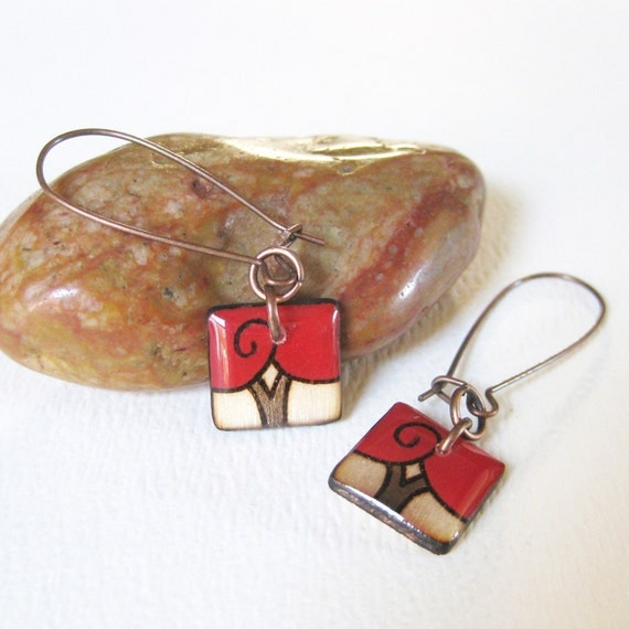 Small Red Square Tree Earrings - Wood Burned and Hand Painted Art Jewelry - Lightweight - Made in Canada