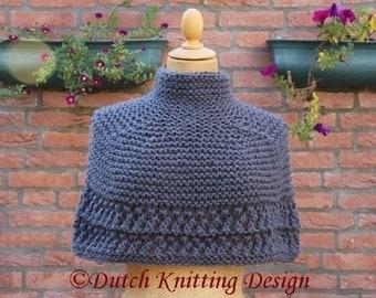 PDF knitting pattern poncho Desire sizes XS-XXL, victorian style capelet, steampunk pattern, wrap,