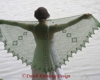Instant download PDF knitting pattern lace shawl stole wrap Haze
