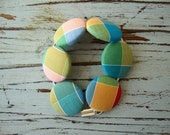 Fabric Button Bracelet in Yellow Blue Green Red Plaid // by Nicoles Threads