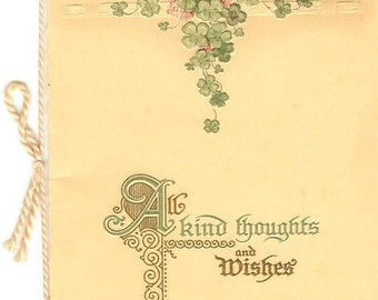 Antique German Card of Kind Thoughts and Wishes with Green Clover