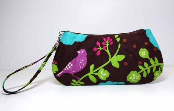 Sweet Pea Zip and Go Wristlet / Flowers and Birds