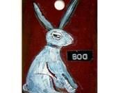 Rabbit Art -  Original Miniature - Are You Talking To  Me - Funny Bunny Warning Sign - Hostess Gift - Children's Wall Art - Nursery Art
