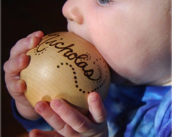 The Original Personalized Heirloom Wooden Baby Ball Toy - new baby gift
