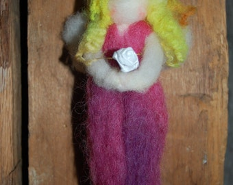 Sweet Dreams Rose Fairy Wool Doll - Waldorf Inspired Protector