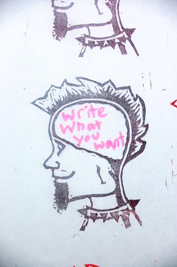 Get In My Head punk rock custom stamp