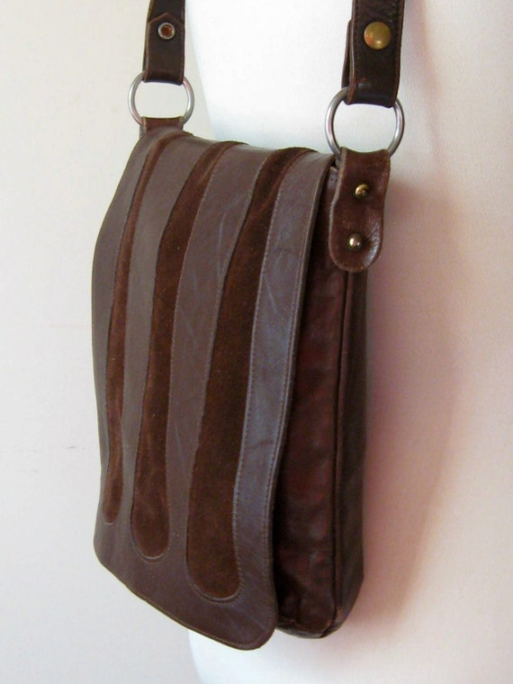 On Hold // Suede & Leather Bag Vintage 60s 70s Chocolate Brown Purse