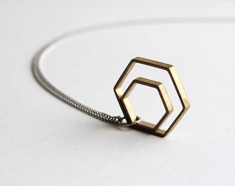 Minimal Paired Hexagon Necklace. Geometric Shapes Jewelry. Short Minimalist Silver Chain Layering Pendant. Brass Charms. FREE Shipping in US