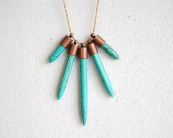 Turquoise Dagger Necklace. Long Layering Howlite Stone Points. Geometric Statement. Bohemian Chic Chevron Pendant. FREE Shipping in US