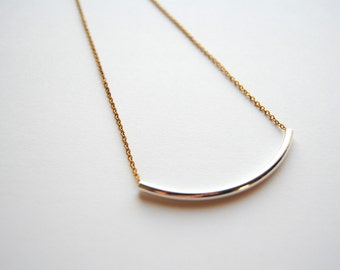 Simple Silver Curved Tube Necklace. Minimal Skinny Silver Bar. Simple Everyday Jewelry. Long and Layering Boho Bib. FREE Shipping in US