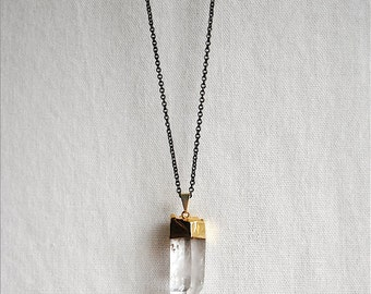 Crystal Necklace. Raw Crystal Pendant. Healing Crystals and Stones. Large Crystal Point. Gold Dipped Quartz Necklace - FREE US Shipping