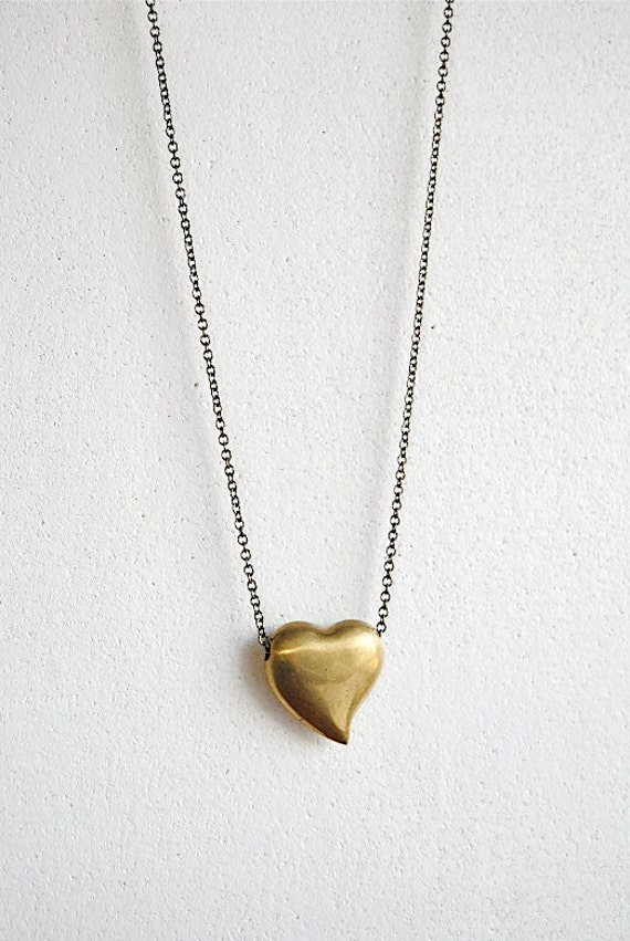 SALE - Vintage Puffy Heart Necklace. Brass Heart.  Valentine's Gift for Her. Long Layering Necklace. Modern Vintage. FREE Shipping in US.