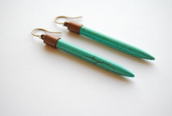 Turquoise Dagger Earrings. Long Stick Dangle Earrings. Long Bars. Stone Spikes. Bohemian Jewelry. Howlite Points. FREE Shipping in US