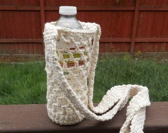 Crochet Water bottle carrie holder in ecru