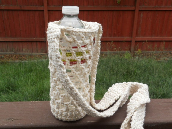 Crochet Water bottle carrie holder in ecru