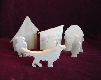 3 Little Pigs Play Set,  Wood Cutouts, Unfinished Pine